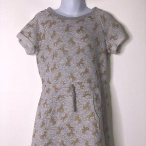 Gymboree girls gray gold sweatshirt unicorn dress
